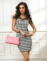 Fashion plaid o-neck sleeveless women sexy dress kneed-length brief party club dresses package hip slim