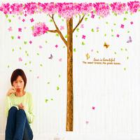 185cm*235cm Sakura Flower Cherry Blossom Tree Adesivo De Parede Home Decor  Removable Wall Sticker