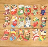 wholesales  1000pcs/lots Socks for Christmas CARDS Christmas tree decoration pendant shape Christmas wish card-free shipping