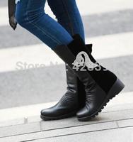 Diamante fox women wedge autumn fashion slip on PU leather ankle boots black size 39 free shipping