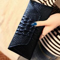 2014 new fashion cowhide embossed leather wallet wholesale long serpentine pattern purse crocodile wallet  female clutch