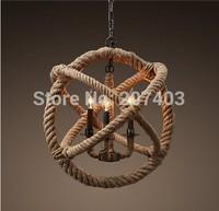 Loft retro creative pastoral hemp rope chandelier classic  American country style iron rope lamp