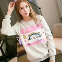 [Amy]  2014 new style cartoon women hoodies Rainbow letter cotton sweatshirts fleece inside hoodie 5 color  909H