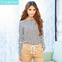 2014 new fashion keroan style autumn long sleeve striped t-shirt slim basic t-shirt casual women's t-shirt hot sale N495
