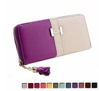 Wallets 2014 Women Wallets Candy Color Long Zipper Design Travel Wallets Brand Leather Wallet Change Purse Women Clutch N1210-1