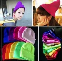 HOT 14 Colors Drop Shipping New 2014 Fashion Knitted Neon Women Beanie Girls Autumn Casual Cap Women's Warm Winter Hats Unisex