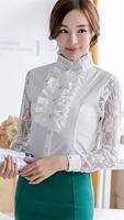 2014 new fashion keroan style long sleeve slim blouse lace solid shirt casual women's shirt hot sale N500