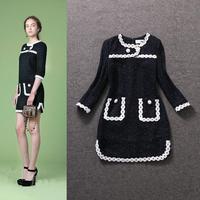 Top Quality!New Fashion Women Winter Dress 2014 White Appliques Flowers Black Wool Dress Casual Novelty Designer Nobel Dress XXL