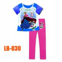 15 Oct Girls Anna Princess Clothing Set Kids Autumn -Summer Pajamas Sets New 2014 Wholesale Children Frozen Pijamas LB-030