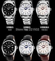 6pcs/lot SKMEI NEW Men Fashion Watch Casual Wristwatch Digital Leather PU & Stainless Steel Band Light 30M  waterproof