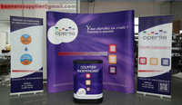 Free Shipping! POP up Backdrop+Pull up Banners+Plastic Table Case