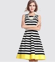 2014 New Arrival Euroepan Style Women Round Neck Sleeveless Striped Pleated Dress Summer Casual Dress Evening Party Dress S-XXL