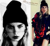 Fashiom hat supermodel veil street snap net yarn knitted cap wool hat autumn winter Hats For Women Women's Beanies
