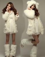 fall and winter women clothes Korea lovely ladies lamb  plush bear ears furry long sleeve hooded winter coat jacket