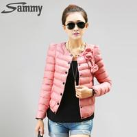 2014 new women ZAB padded jacket to keep warm in winter, ladies fashion, decorative bow, Slim short jacket Outerwear & Padded