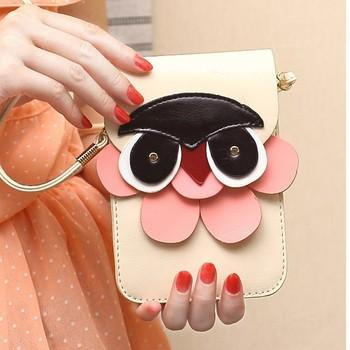 Горячая! новый хан издание милый сова мини пакеты мода одно плечо наискось мешок женский мобильный телефон сумка