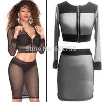 2014 new perspective net yarn splicing two-piece nightclubs dress sexy dress
