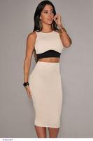 Sexy midi saia set Summer Clothing Set Women Sleeveless Cream Black crop top and skirt set blusas femininas Clubwear Vestidos