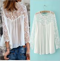 White Sexy Lace Blouse For Women Chiffon Blouses Renda Blusas Cropped 3/4 Sleeve Hollow Crochet Lace Shirt /Plus Size Tops Women