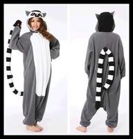 Novelty Animal Lemur Long Ring-Tailed Monkey Adult Onesie Unisex Women Men's Pajamas Halloween Christmas Party Costumes