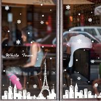 2014 Papai Noel Cristmas Decoration Size 200*300cm Christmas White Snowflake Decorative Wall Stickers Coffee Shop Window