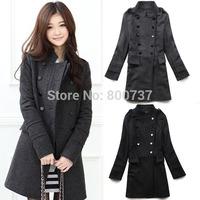 Plus Size S-XXL new 2014 women coat fashion women's slim wool blended Double-breasted coat winter overcoat women woollen coat
