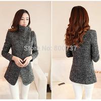 Plus Size S-XXL New 2014 Winter Trench Coat Women Grey Warm Woolen Coat Slim Jacket European Fashion Overcoat Free shipping