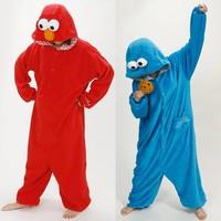 Adult Pajamas All in One Pyjama Animal Suits Cosplay Adult Flannel Garment Flannel Cookie Monster Cute Cartoon Animal Onesies
