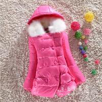 2014 winter fashion girls thick warm fur collar down jacket  Height 130 ~ 150cm