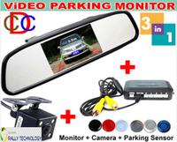 "3in1 Car Video Parking Backup Radar Sensor With CCD Rear View Camera + 4.3"" Car Reverse Mirror Monitor , 4 Sensors 6 Color"
