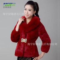 new fox fur collar rabbit fur coat,women rhinestone belt a generation of fat,free shipping