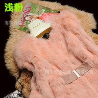 new Korean fashion rabbit fur belt Slim 7 points sleeve coat,female short paragraph,free shipping