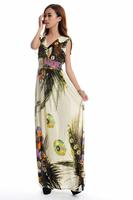 fashion floor length quality soft fabric maxi dress Women Plus Size dress HL1902-beige back blue 3 colors good quality dress