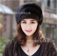 warm winter lady mink fur mink fur hat,striped hat a generation of fat,free shipping
