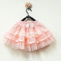Manufacturers clear batch ! ! Korean girls princess skirt veil solid half-length skirt dance skirt childrenLace TUTU Skrits 4pcs