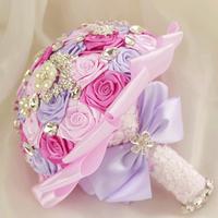 2014 New Wedding Accessories Decoration,Artifical Pearl Beaded Brooch Silk Rose Bridal Bouquet.Hemisphere N02