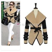 New 2014 Autumn&Winter casacos femininos Woolen coat Victoria's Style Overcoat Lady/Girls Beige Khaki Coat Plus SizeM-XXXL