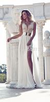 Hot Sale Cheap Deep V Neck Hand Made Beading A  Line Formal Gowns Long High Slit Chiffon Sexy Evening Dress Stock