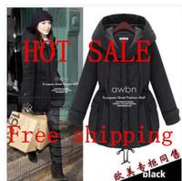 Korean Women Long Sleeve Thicken Fleece Hooded Parka Lady Winter Coat Jacket Outwear  Black Plus  Free Shipping