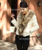 new trade raccoon fur collar Rabbit fur coat,ladies short grass a generation of fat,free shipping