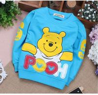 2014 baby boys cartoon bear T-shirts girls cotton long sleeves T-shirts kids sweatershirts children clothing Round neck t shirt