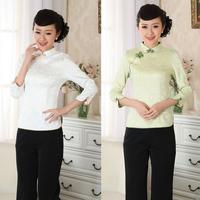 chinese Silk brocade china seven sleeve Back zipper jacket top blouse 140901