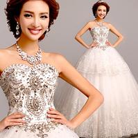 New 2014 Autumn Lady Organza Luxury Diamond Floor Length Sweetheart Princess Formal Wedding Dress Bridal Gown