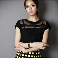 ming-016 Korean loose short-sleeved chiffon shirt lace blouse 2014 European and American big yards  Free Shipping