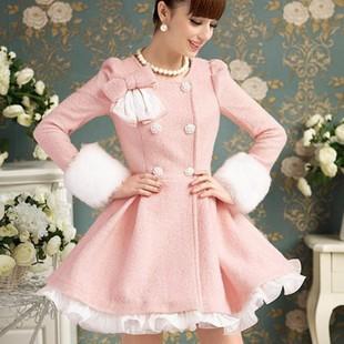Pink winter coat women skirt wool coat fur sleeve ruffle hemline round neck bow overcoat double breasted slim long woollen coat(China (Mainland))