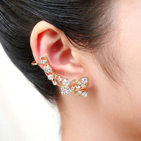 2014 new Fashion Earring Jackets Jewelry Exquisite Pearl Crystal Butterfly Flower Gold Brand Ear Cuff For Women Elf Ear Clip