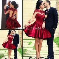 Free Shipping Real Image Vestidos Sheer Long Sleeves Lace Short Dark Red Prom Dresses 2014 Abendkleider