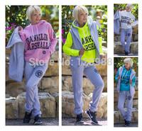 (Hoodies+pant+vest) 3Pcs Set Thick Winter Women 2014 New Casual Sweatshirt Sport Suit Ladies Hoody Fashion Letter Tracksuits