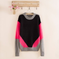 2014 fashion women's winter wool knitted O-neck  plus size loose patchwork casual knitted sweater free shipping