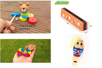 Free shipping, children's wooden toys, 4 piece suit, harmonica, whistle, classic toys